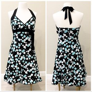 Halter dress turquoise and white circles on black